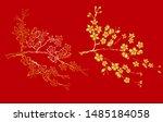 free hand sakura flower vector... | Shutterstock .eps vector #1485184058