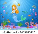 little cute mermaid with fishes ...   Shutterstock .eps vector #1485208862