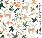 deer and autumn beige maple... | Shutterstock .eps vector #1485320222