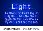 neon light color blue font.... | Shutterstock .eps vector #1485344042
