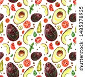 seamless pattern of avocado ... | Shutterstock . vector #1485378935
