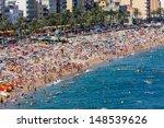 Crowded Beach At Lloret De Mar...