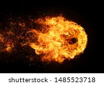 A circular flame that burns violently with a black background