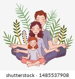 mother  father and daughter... | Shutterstock .eps vector #1485537908