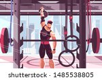 athlete training in gym vector... | Shutterstock .eps vector #1485538805