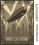 spirit of future zeppelin... | Shutterstock .eps vector #1485541475