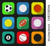 sport balls flat icons set.... | Shutterstock .eps vector #148558046