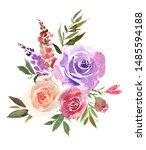 red blush purple watercolor... | Shutterstock . vector #1485594188