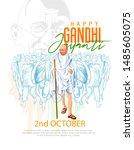illustration of mahatma gandhi... | Shutterstock .eps vector #1485605075