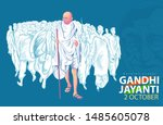 illustration of mahatma gandhi... | Shutterstock .eps vector #1485605078