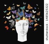 butterflies from the head.... | Shutterstock .eps vector #1485625322