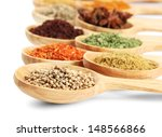 assortment of spices in wooden... | Shutterstock . vector #148566866