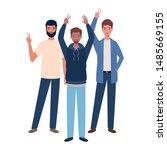young men standing on white... | Shutterstock .eps vector #1485669155