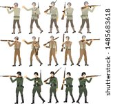 World War Two Soldier Set, American, British and SS German, WW2 Troop, Rifle M1 Garrand, Lee Enfield and Mauser Gun - Vector