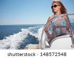 woman  in dress driving a... | Shutterstock . vector #148572548