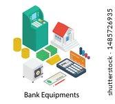 bank equipment vector isometric ... | Shutterstock .eps vector #1485726935