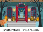 scary house with stairs  ghosts ... | Shutterstock .eps vector #1485763802