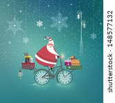 cute santa claus on bicycle... | Shutterstock . vector #148577132