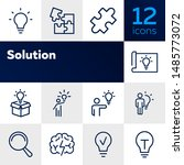 Stock vector solution line icon set bulb puzzle brain idea concept can be used for topics like business 1485773072