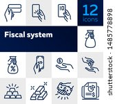fiscal system line icon set.... | Shutterstock .eps vector #1485778898