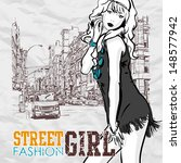 cute fashion girl on a street... | Shutterstock .eps vector #148577942