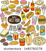 fast food doodle drawing... | Shutterstock .eps vector #1485783278