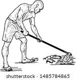 a farmer tilling the earth.... | Shutterstock .eps vector #1485784865
