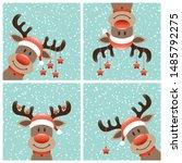 four reindeers christmas stars...