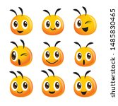 cartoon cute bee head icon... | Shutterstock .eps vector #1485830465