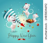 banner with symbols of 2020 new ... | Shutterstock .eps vector #1485834692