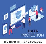 data protection isometric... | Shutterstock .eps vector #1485842912