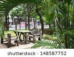 garden bench under arch created ... | Shutterstock . vector #148587752