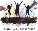 dancing people silhouettes.... | Shutterstock .eps vector #1485920072