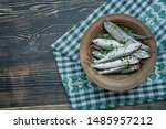 Stock photo baltic herring seafood salted herring fish in a bowl with spices and herbs wood background 1485957212