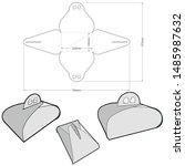 cake box  internal measurement... | Shutterstock .eps vector #1485987632