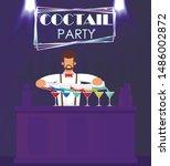 man bartender in formal suit... | Shutterstock .eps vector #1486002872