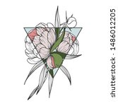 floral clip art with peony... | Shutterstock .eps vector #1486012205