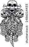 Vintage Skull And Bones Tattoo...