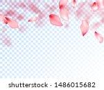 japanese cherry petals on... | Shutterstock .eps vector #1486015682