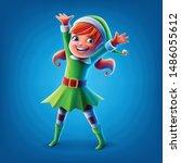 little elf girl illustration... | Shutterstock .eps vector #1486055612