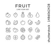 set line outline icons of fruit ... | Shutterstock . vector #1486062428