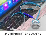 stethoscope and ecg on laptop... | Shutterstock . vector #148607642