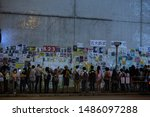 """Small photo of HONG KONG - August 23rd 2019: Hong Kong protesters formed 30-mile human chain, named """"Hong Kong Way"""" in demand for democratic reform, withdrawal of extradition bill and condemn police brutality."""