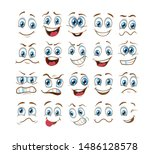 face expression set. vector... | Shutterstock .eps vector #1486128578