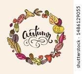 autumn lettering. autumn leaves ... | Shutterstock .eps vector #1486129055