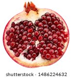 half of pomegranate isolated on a white background - stock photo