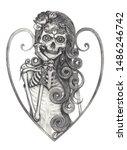 art fashion model skull day of...   Shutterstock . vector #1486246742