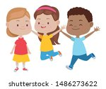 happy kids smiling and playing... | Shutterstock .eps vector #1486273622