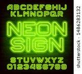 neon sign alphabet font. green... | Shutterstock .eps vector #1486283132