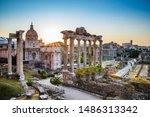 Roman Forum At Sunrise In Rome...